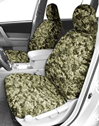 CalTrend Front Row Bucket Custom Fit Seat Cover for Select Jeep Wrangler Models - Camouflage (Forest)