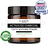 Activated Charcoal Tooth Powder Herbal Organic 100% Natural Fluoride Free Natural Whitening Remineralizing Oral Dental Teeth Polish 60g Breath Freshener Calcium Carbonate, Peppermint & Lemon