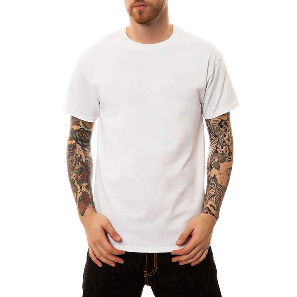 O Neck Tank Tops,Men's New Summer Printed Fashion Personality Printed Casual Short T-Shirt Tops,White,L
