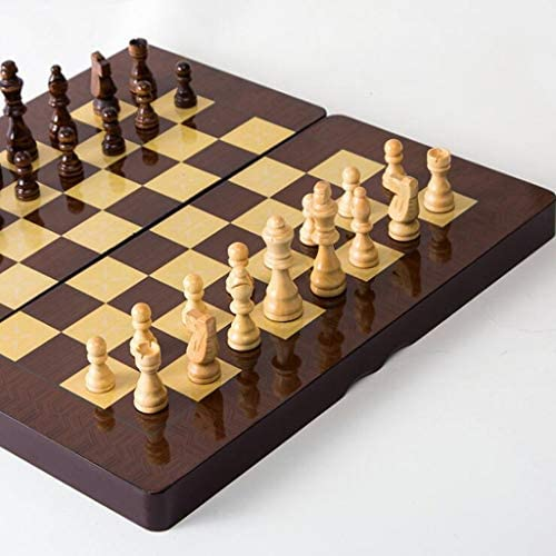 Schaakset Draagbare Houten Schaakbord Set Opvouwbare Spelen Schaakspeelgoed Schaakmensen Entertainment Game Board Speelgoed Gift Schaakbord (Maat: King 8.5cm)