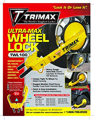 Trimax TWL100 amarillo bloqueo de rueda
