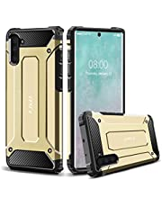 J&D Case Compatibel met Samsung Galaxy Note 10 Hoesje, Heavy Duty ArmorBox, Dubbellaagse Schokbestendige Hybride Robuuste Bumperhoes, Niet voor Note 10 Pro/10+/10+ 5G/10 Plus/10 Plus 5G, Goud
