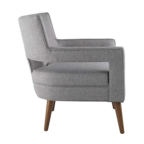 Modway Sheer Upholstered Fabric Mid-Century Modern Accent Lounge Arm Chair in Light Gray - MID-CENTURY ARMCHAIR - A sophisticated piece to complement a variety of contemporary décors, Sheer is a striking addition with its flared arms, button-tufted detail, chic cutouts, and tailored profile FINE UPHOLSTERY - Covered in durable polyester fabric, this upholstered armchair is heightened by the subtle piped trim. An intriguing modern design, Sheer emboldens the look of contemporary spaces MODERN ACCENT CHAIR - An elegant place to rest and relax, this modern lounge chair is suitable for the living room, bedroom, home office, or entryway, making a bold statement wherever it sits - living-room-furniture, living-room, accent-chairs - 51AUGQxUVFL. SS570  -