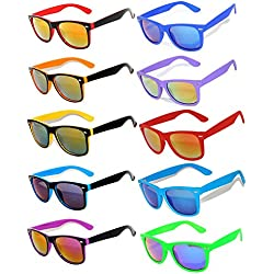 Owl Retro Vintage Sunglasses Colorful Mirror Lens Matte Frame 10 Pairs