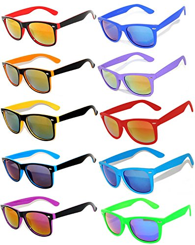 Owl Retro Vintage Sunglasses Colorful Mirror Lens Matte Frame 10 Pairs by OWL