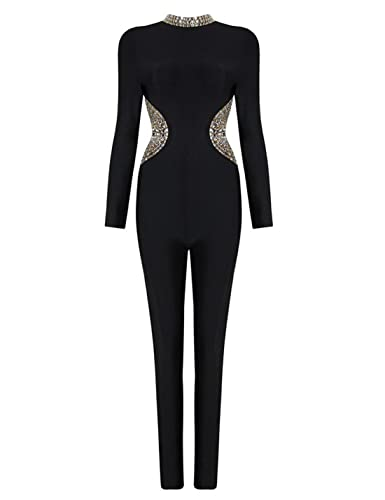 9109a46b657f Amazon.com  Meilun Women s Beads Embellished Long Sleeves Bandage Jumpsuits  Pants  Clothing