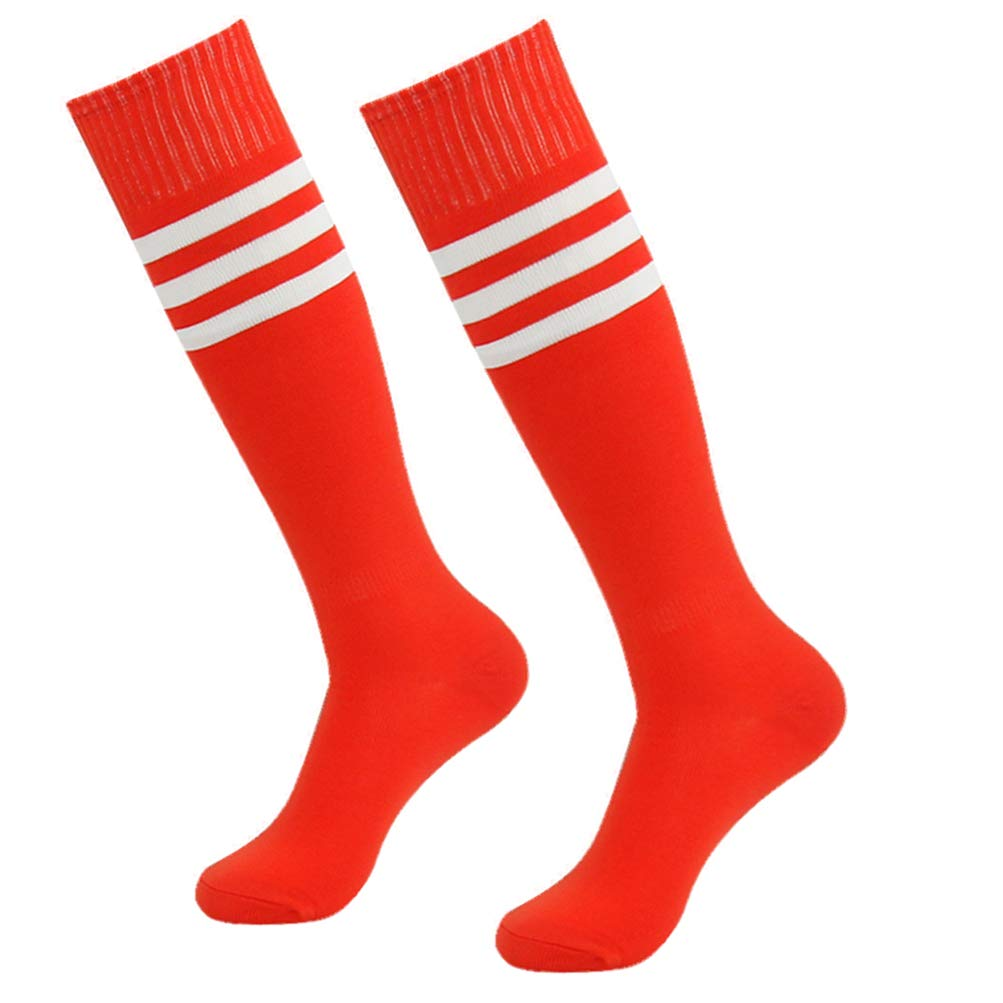 saillsen Compression Youth Soccer Socks Knee High Triple Stripe Breathable & Durable Players Sports Soft Socks 2 Pairs Red White Stripe One size by saillsen