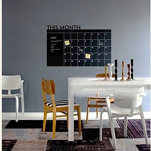"""Self-Adhesive Multi-Purpose Chalkboard Contact Paper Wall Sticker/Message Board Decal (36"""" X 24"""" Black Monthly Calendar)"""