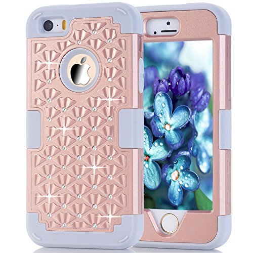 iPhone SE Case, Speedup Diamond Studded Crystal Rhinestone 3 in 1 Bling Hybrid Shockproof Cover Silicone and Hard PC Case For Apple iPhone SE (2016) & iPhone 5S / 5 (2013) (Gold Grey)