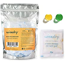 Wisedry 10 Gram [30 PACKS] Silica Gel Packets Reactivated by Microwave Small Desiccant Packs with Color Indicating Air Dryer Bags for Moisture Removal Rechargeable Dehumidifiers for Storage Food Grade
