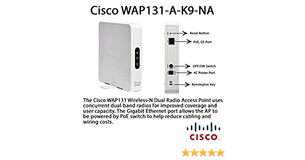 CISCO WAP131-A-K9-NA Cisco Small Business WAP131 - Wireless access point -  802 11b/g/