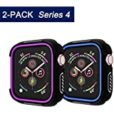 [2-Pack] UBOLE Case for Apple Watch Series 4 40mm Screen Protector,Rugged Protective Case Shockproof Bumper Screen Protector Cover Replacement for Apple Watch Series 4, 40mm,Blue+Purple