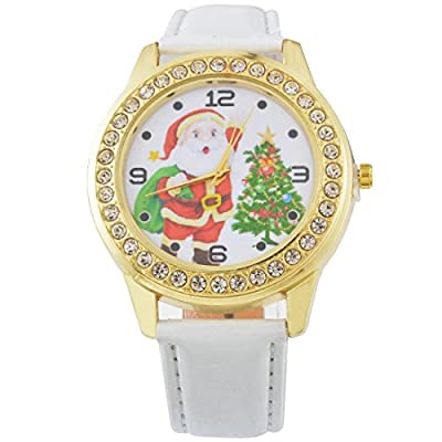 Souarts Womens Artificial Leather Christmas Tree Rhinestone Quartz Analog Wrist Watch 25cm