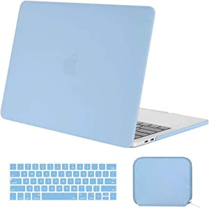 MOSISO MacBook Pro 13 inch Case 2019 2018 2017 2016 Release A2159 A1989 A1706 A1708, Plastic Hard Shell Case & Keyboard Cover & Water Repellent Storage Bag Compatible with MacBook Pro 13, Airy Blue