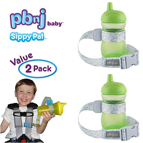 PBnJ Baby SippyPal Sippy Cup Holder Strap Leash Tether (Love Gray 2-Pack)