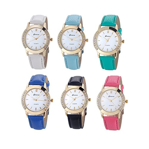 Watch Ships - Geneva Fashion Women Watches Leather Rhinestone Inlaid Quartz Jelly Dress Wrist watch 6 Pcs Fiiliip(Mixed Color)