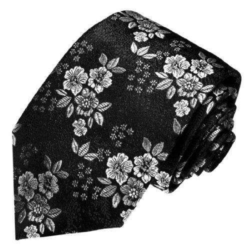 Flowers New Necktie - LORENZO CANA Luxury Italian Silk Tie Black White Flowers Jacquard Necktie 36078