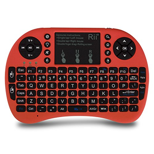 Rii i8+ Mini Wireless 2.4G Backlight Touchpad Keyboard with Mouse for PC/Mac/Android, Red (mwki8+)