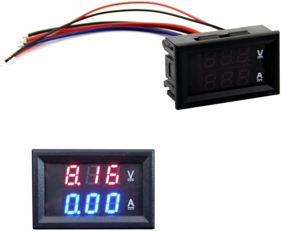 Voltímetro amperímetro HeroNeo®, DC 100 V, 10 A, medidor digital de amperios y voltios con LED de color azul y rojo