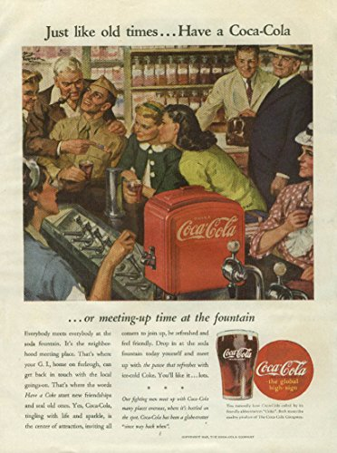 Just like old times Have a Coca-Cola ad 1945 GI at soda fountain Cosmo