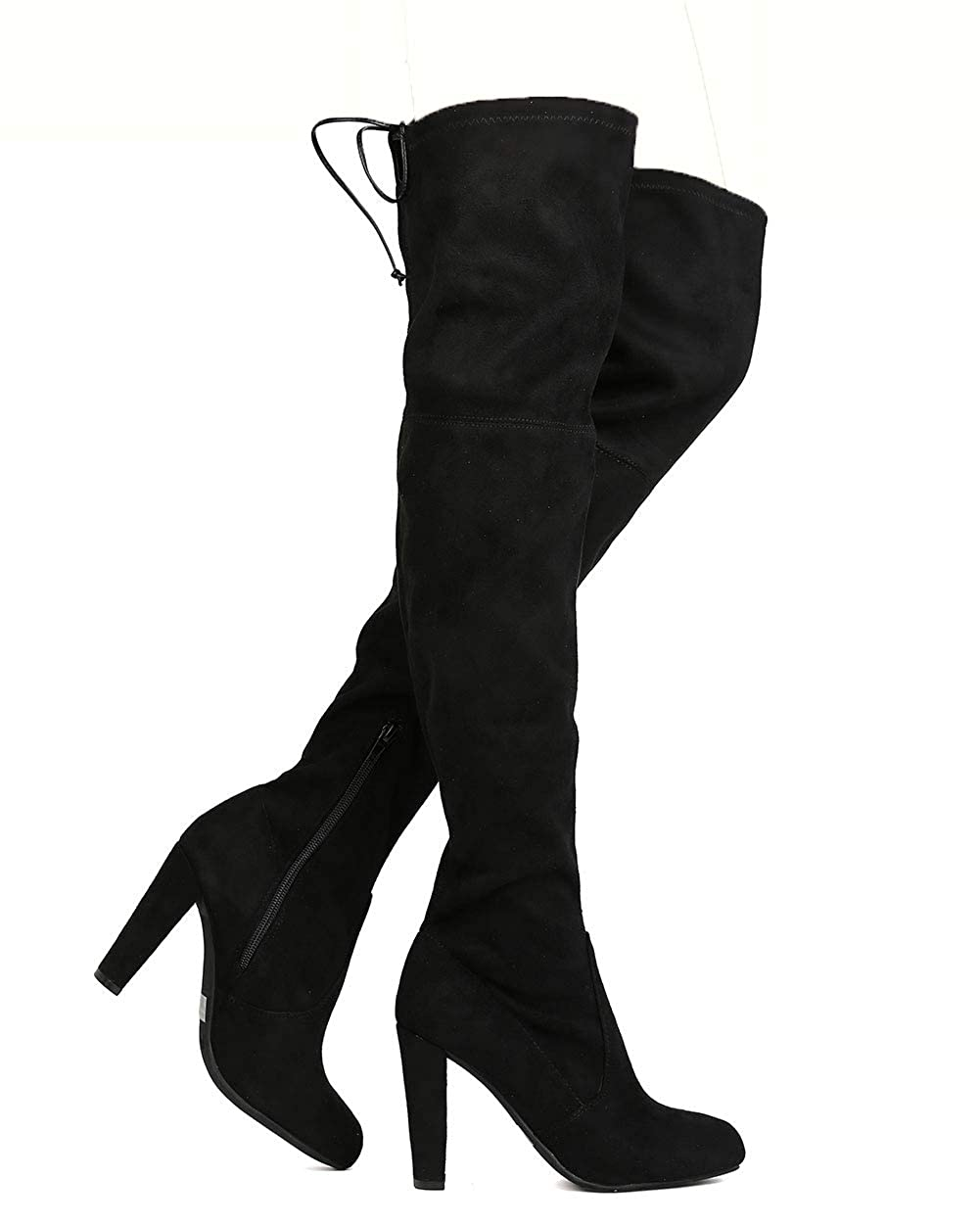 Black Women's Over The Knee Boot Sexy Thigh High Pull on Boots Trendy Low Block Heel shoes