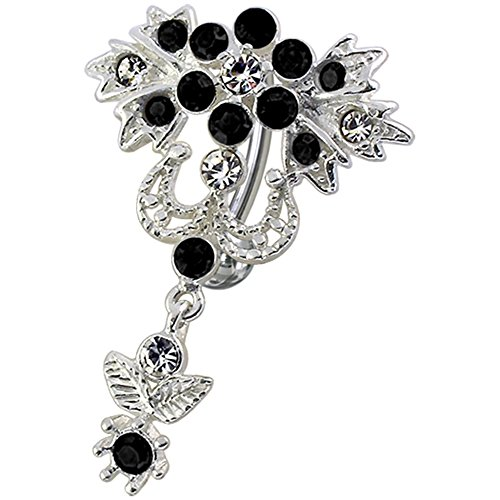 Black Gemstone Fancy Floral Reverse Bar Dangling 925 Sterling Silver with Stainless Steel Belly Button Navel (Designer Sterling Silver Belly Button Ring)