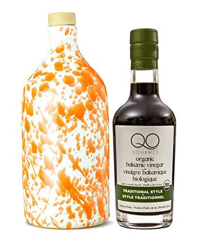 Price comparison product image Olive Oil and Balsamic Vinegar Set,  Frantoio Muraglia PUGLIA ORANGE Ceramic Bottle,  First Cold Pressed Italian Extra Virgin Olive Oil & QO ORGANIC Traditional Thick Barrel Aged Balsamic Vinegar