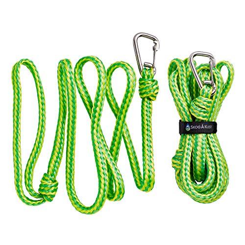 Premium PWC Dock Lines | 2-Pack Heavy Duty Braided Ropes, 1/2'' x 7ft & 14ft Lengths, with 316 Stainless Steel Clip by Skog Å Kust
