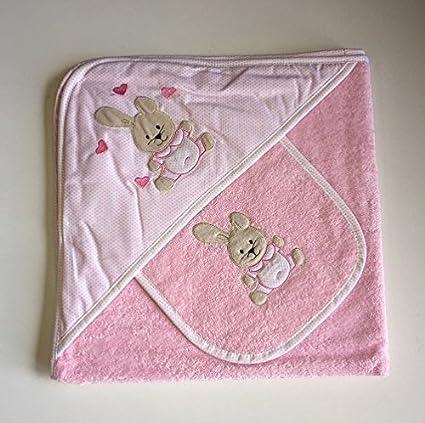Baby Cuddle toalla y babero, diseño de conejo rosa, rizo para bebé Toalla con