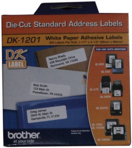 "Brother DK1201 1-1/7"" x 3-1/2"" Address Paper Labels (400-Pack) White"