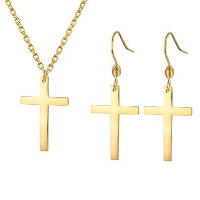 Amazon.com: Jeka - Pendientes colgantes de cruz para mujer y ...