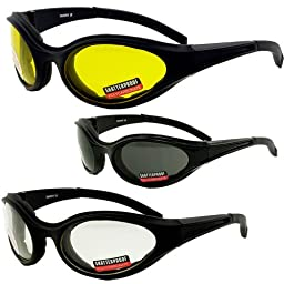 Set of 3 New Pairs of Birdz Raven Motorcycle Riding Glasses Smoke Clear Yellow foam padding on the entire inside of the glasses to fit snug to your face and protect against wind dust anhd sweat getting into your eyes.Also has comfortable rubber ear pads!