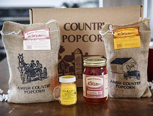 Amish Country Popcorn - Burlap Gift Set - 2 (2 lb) Burlap Sacks of Medium White and Medium Yellow Popcorn, 16 oz Canola Oil, 4.5 oz Butter Salt - with Recipe Guide and 1 Year Freshness Guarantee