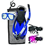 Innovative Scuba Concepts MSF4662 REEF, Adult Snorkel Set, Mask, Fins, Snorkel and Bag