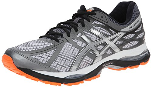 ASICS Men's Gel Cumulus 17 Running Shoe, White/Silver/Hot Orange, 8 M US