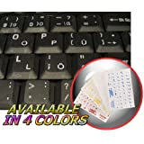 GERMAN KEYBOARD STICKERS WITH WHITE LETTERING ON TRANSPARENT BACKGROUND