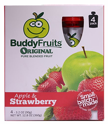 Buddy Fruits Pure Blended Fruit To Go, Apple Strawberry, 3.2 Ounce, 4 count, (Pack of 6)