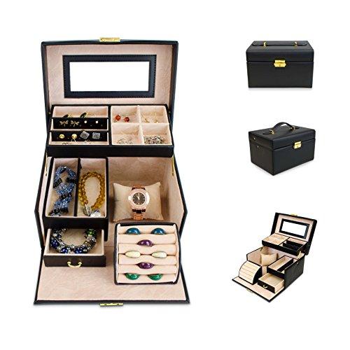 venkon universal schmuckbox mit spiegel schubladen f r schmuck kosmetik aufbewahrung. Black Bedroom Furniture Sets. Home Design Ideas