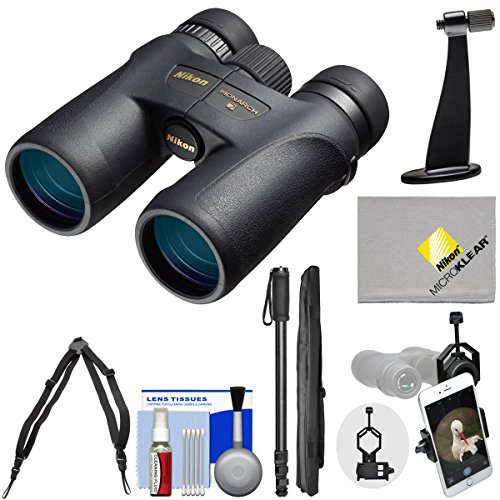 Nikon Monarch 7 8x42 ED ATB Waterproof / Fogproof Binoculars with Case + Harness + Smartphone and Tripod Adapters + Monopod + Cleaning Kit