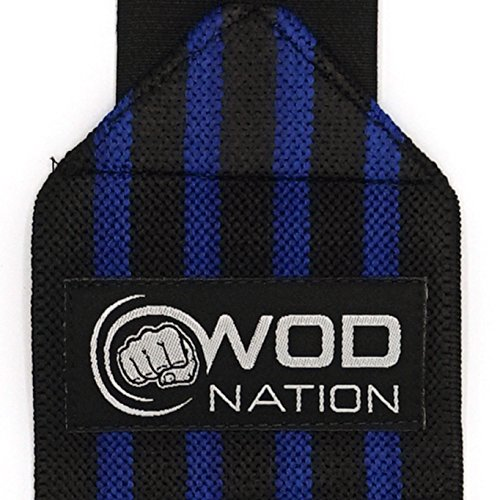 WOD Nation Wrist Wraps by Wrist Support Straps (12'', 18'' or 24'') - Fits Both Men & Women - Strength Training, Weightlifting, Powerlifting - Lift Heavier Weight (18 Inch - Black/Dk Blue) by WOD Nation (Image #1)
