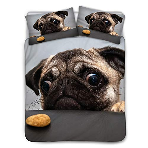 BIGCARJOB Ultra-Soft Microfiber Comforter Cover Cool Designs Bedding Quilts Cover 3-Piece Sets Pug Print Black Lining Twin Size 68X88inches