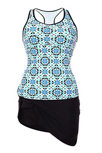 Milakoo Womens Tankini Set Sport Blue Tank Top Black Skirted Bottom Swimsuit