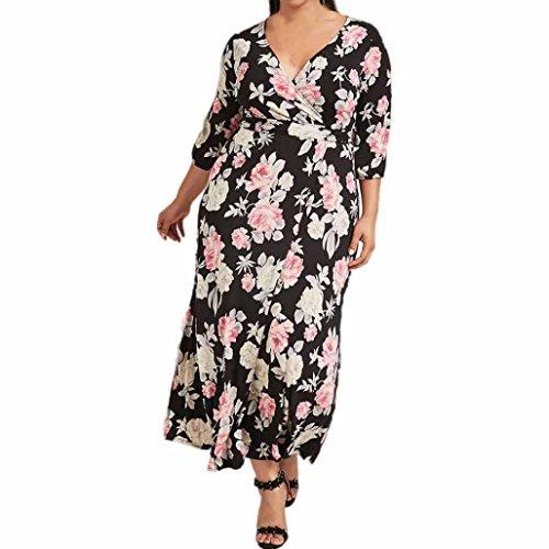 Women Summer Plus Size Dress,Todaies Womens Sexy V-Neck Maxi Dress Ladies Casual Dress (XL, Black) by Todaies-Women Dress