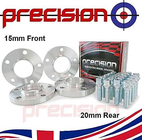 Bolts for ƁMW 3 Series Aluminum Wheels E30 E91 E36 E90 15mm 20mm Hubcentric Spacers 2 Pair E46 E93 E92