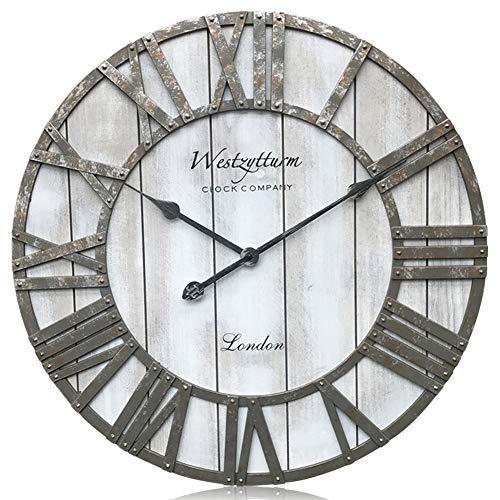 Westzytturm Wooden Wall Clock Battery Operated Non Ticking Quartz Movement Silent Retro Metal Hands Round Wood Rustic Large Clocks for Living room Decor Antique Office Beach Mantel(Grey, 24 -