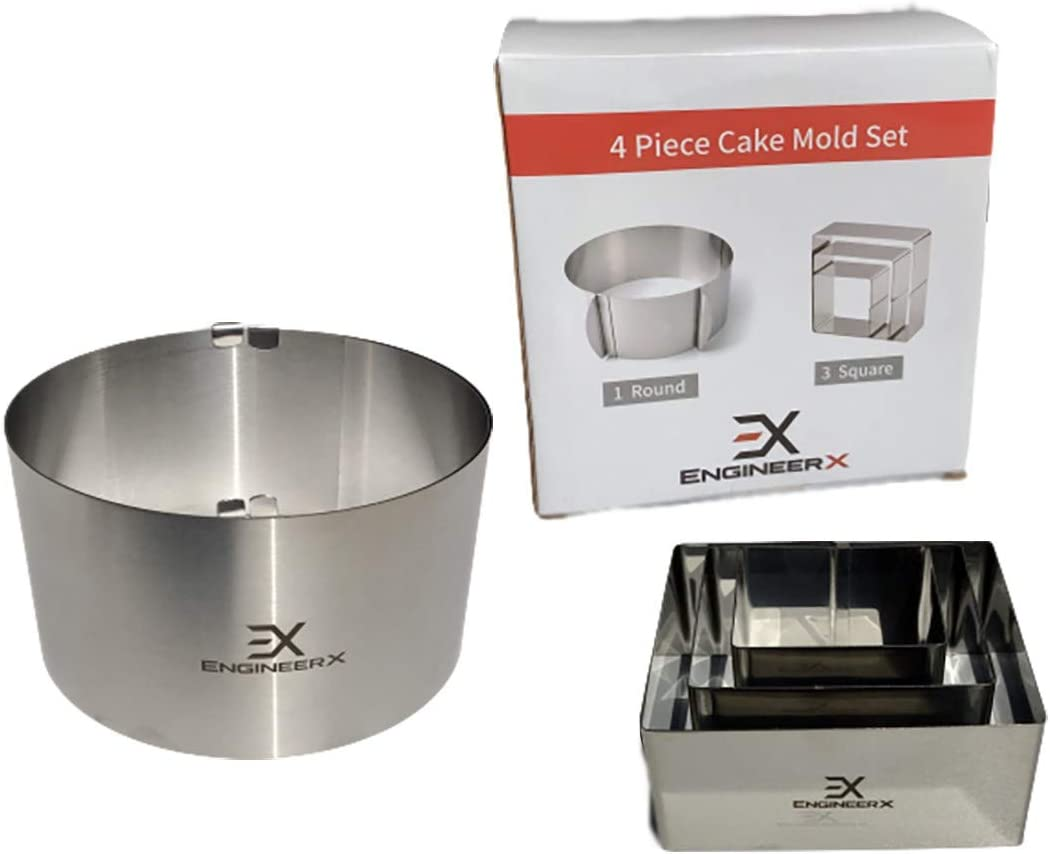 EngineerX 4-Piece Cake Molds for Baking Pastries, Bread, Mousse, or Dough, Stainless Steel Adjustable Cake Ring and 3 Square Borders, Decorating and Design, Reusable