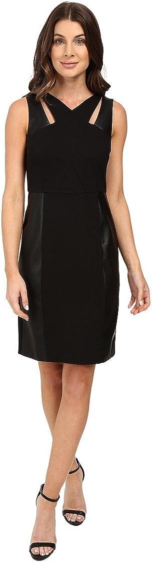 Laundry by Shelli Segal Women's Sheath Dress w/Cut Outs & Faux Leather Black Dress