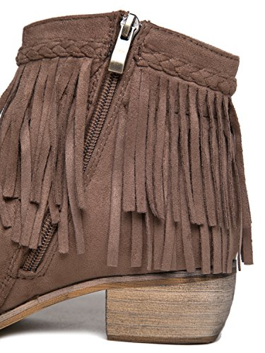 Bootie Taupe Bree Fringe J Boot Adams Suede Cowboy Ankle Western 80YZwq0