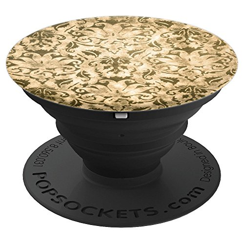 Golden Damask Pop Socket Baroque Barocco style pattern - PopSockets Grip and Stand for Phones and Tablets -