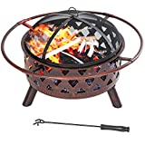 Cheap Merax Patio Outdoor Metal Fire Pit Fire Bowl with Poker and Handles, Black